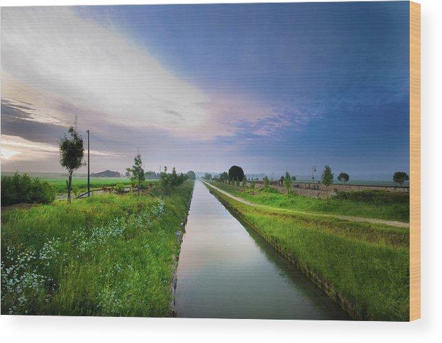 Scenics Wood Print featuring the photograph Canal De Lourcq - Precy Sur Marne - by © Nicolas Gaire