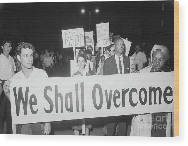Democracy Wood Print featuring the photograph Civil Rights Demonstrators by Bettmann