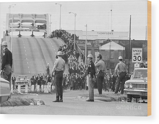 Marching Wood Print featuring the photograph Civil Rights Marchers On Bridge by Bettmann