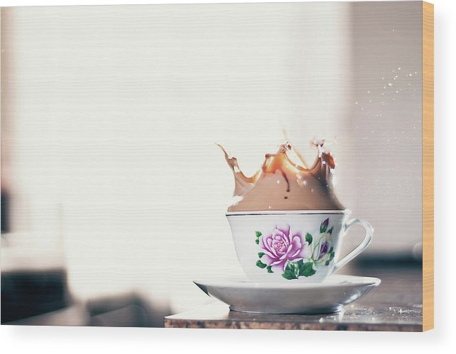 Motion Wood Print featuring the photograph Coffee Splash In Kitchen by Photographs By Vitaliy Piltser