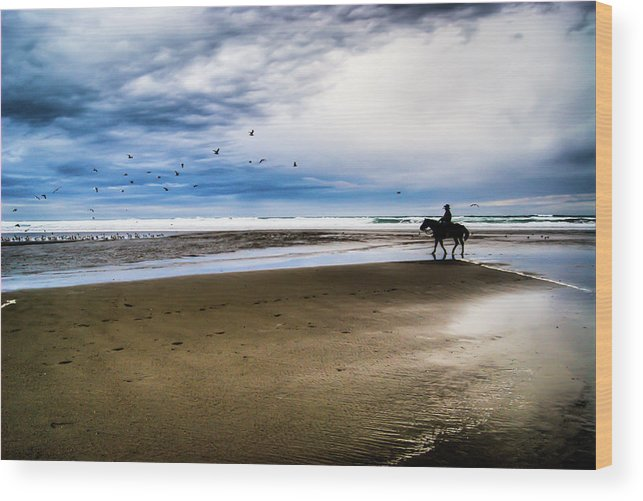 Horse Wood Print featuring the photograph Cowboy Riding Horse On Beach by D. R. Busch