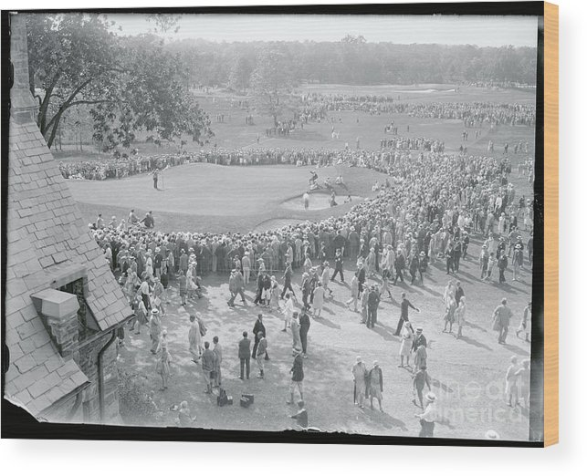 Crowd Of People Wood Print featuring the photograph Crowd Watching Bobby Jones During Golf by Bettmann