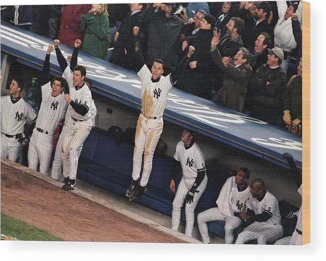 Celebration Wood Print featuring the photograph Derek Jeter 2 by Jamie Squire