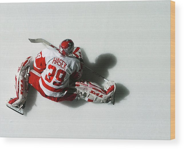 National Hockey League Wood Print featuring the photograph Detroit Red Wings V New York Islanders by Al Bello