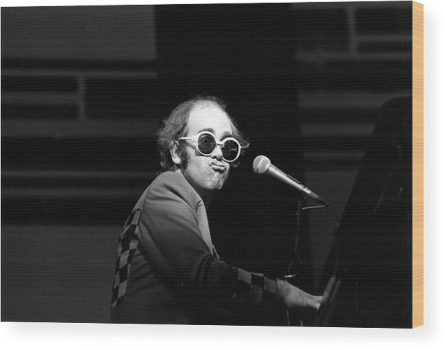 Rock Music Wood Print featuring the photograph Elton Live by Robin Jones