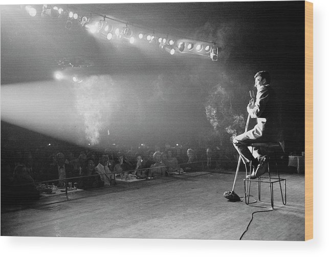 Timeincown Wood Print featuring the photograph Entertainer Dean Martin On Stage by Allan Grant