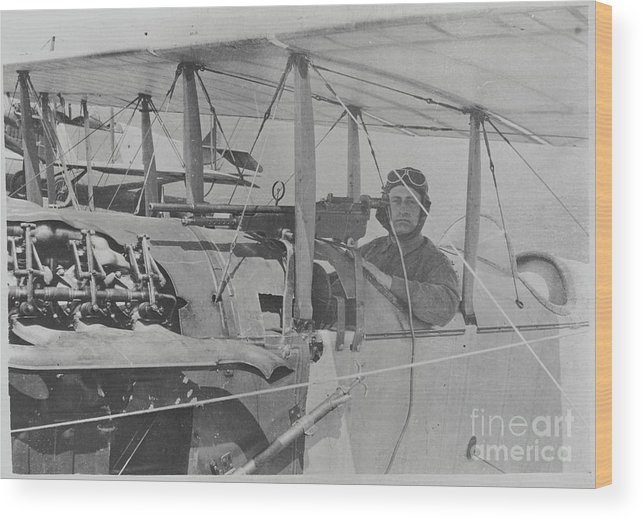 People Wood Print featuring the photograph Flyer In Aircraft Cockpit by Bettmann