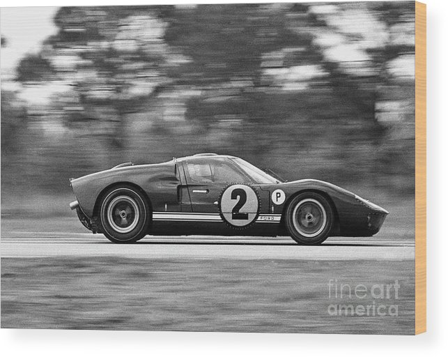 People Wood Print featuring the photograph Ford Prototype Racecar On Track by Bettmann