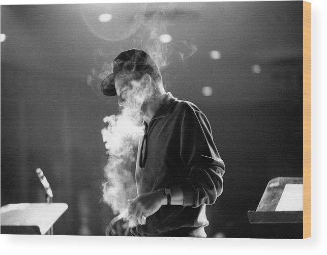 Frank Sinatra Wood Print featuring the photograph Frank Sinatra During Rehearsals by John Dominis