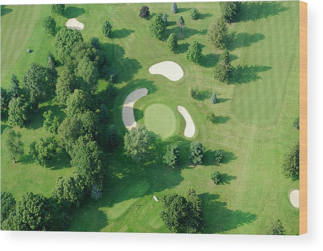 Sand Trap Wood Print featuring the photograph Golf Course Close Up From The Air by Groveb
