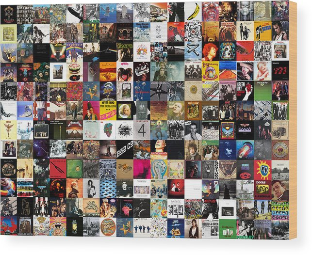 Album Covers Wood Print featuring the digital art Greatest Rock Albums of All Time by Zapista OU