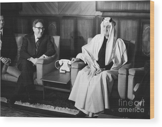People Wood Print featuring the photograph Henry Kissinger With King Faisal by Bettmann