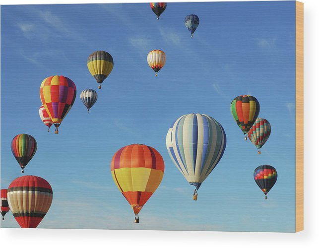New Mexico Wood Print featuring the photograph Hot Air Balloons by Sjlayne