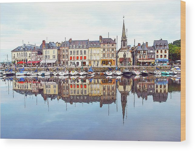 Tranquility Wood Print featuring the photograph Houses Reflection In River, Honfleur by Ana Souza