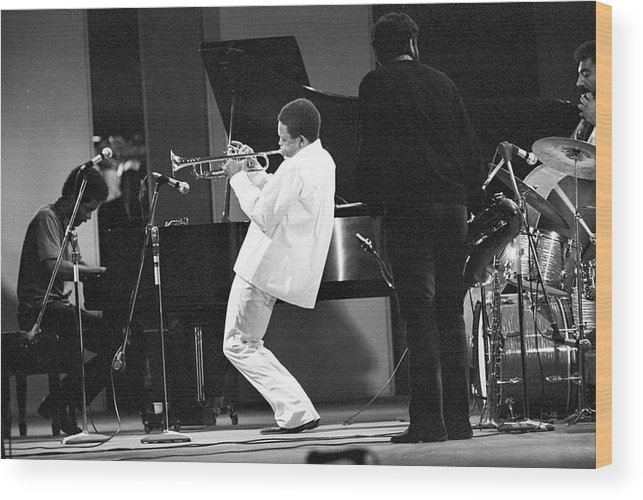 Performance Wood Print featuring the photograph Hugh Masekela Performing by Tom Copi