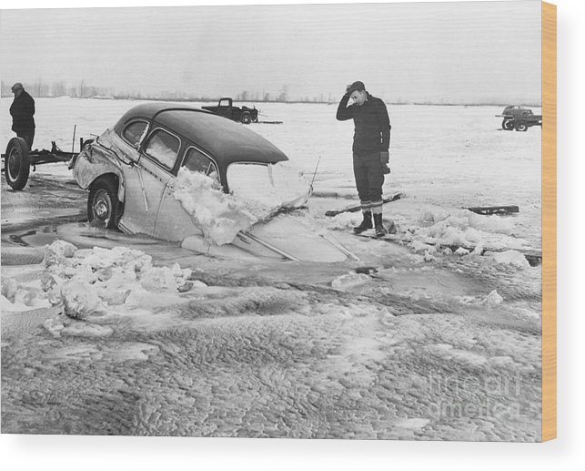 People Wood Print featuring the photograph Ice Fishermans Car Sinking On Ice by Bettmann