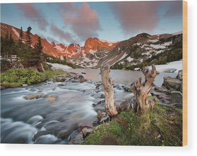Alpenglow Wood Print featuring the photograph Indian Peaks Wilderness Lake Isabelle by Kjschoen
