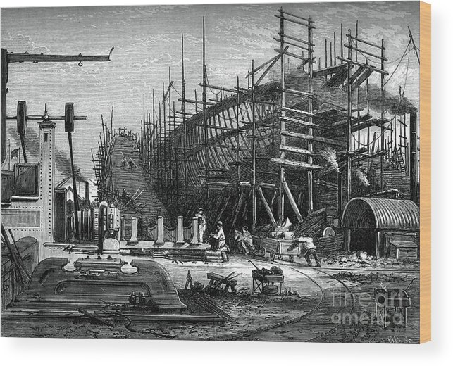 Engraving Wood Print featuring the drawing Iron Ship, Messrs Samudas Yard, Isle by Print Collector