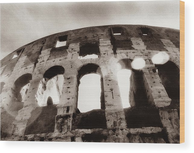 Roman Wood Print featuring the photograph Italy, Rome, The Colosseum, Low Angle by Carolyn Bross