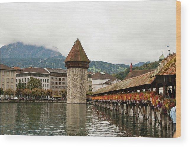 Scenics Wood Print featuring the photograph Kapellbrucke On Reuss River, Lucerne by Cultura Rf/rosanna U