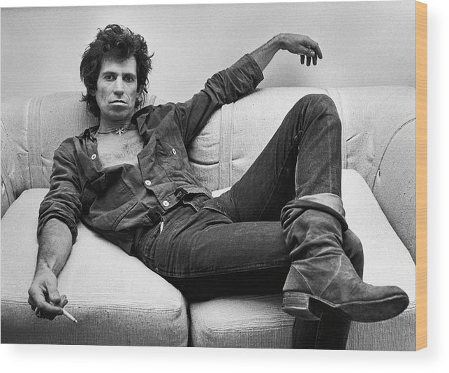 Keith Richards - Musician Wood Print featuring the photograph Keith Richards Portrait Session by George Rose