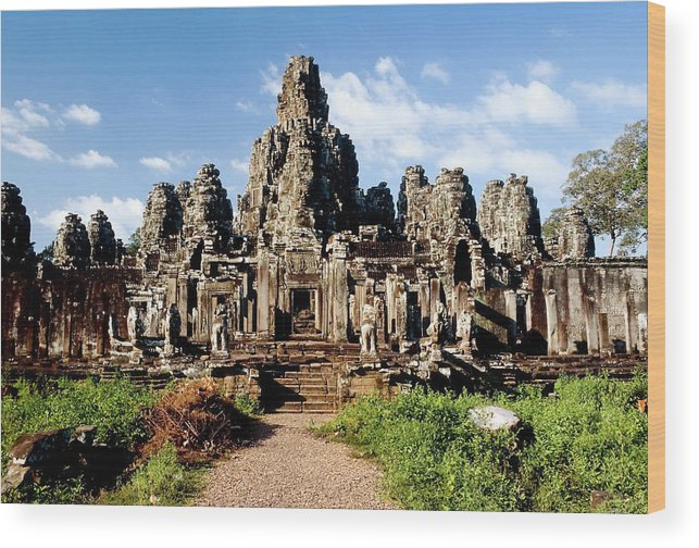 Scenics Wood Print featuring the photograph Landscape Photo Of Bayon Temple In by Laughingmango