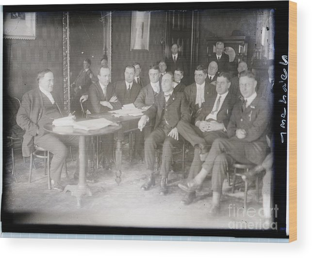 Employment And Labor Wood Print featuring the photograph Leaders At Steel Strike Meeting by Bettmann