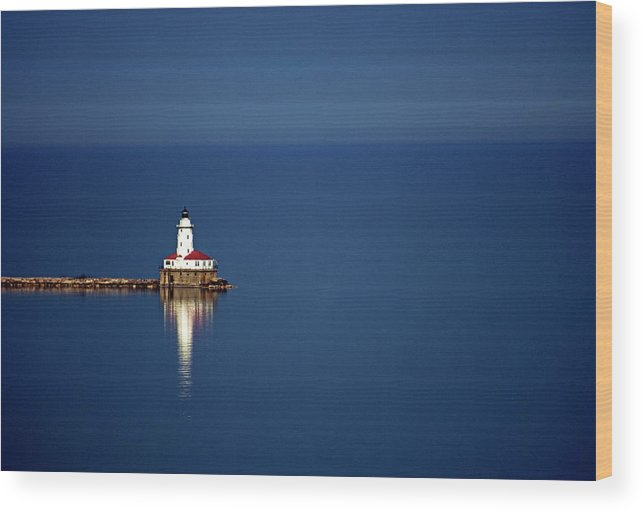 Outdoors Wood Print featuring the photograph Lighthouse On A Lake by By Ken Ilio