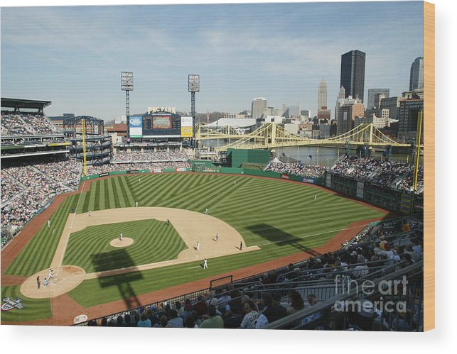 Opening Ceremony Wood Print featuring the photograph Los Angeles Dodgers V Pittsburgh Pirates by Rick Stewart