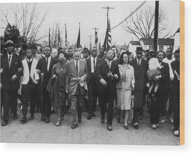 Marching Wood Print featuring the photograph Luther King Marches by William Lovelace
