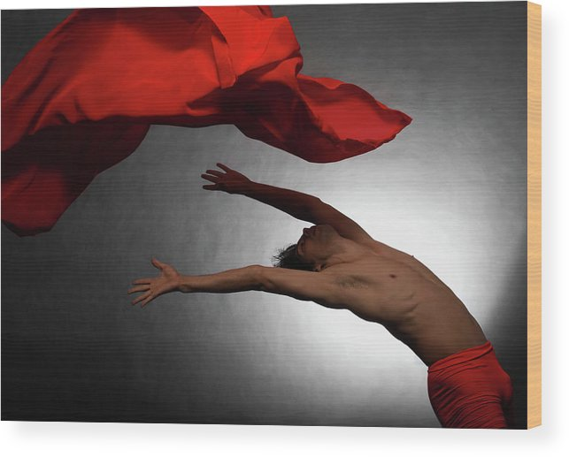 Ballet Dancer Wood Print featuring the photograph Male Ballet Dancer Dancing With A Red by Win-initiative/neleman
