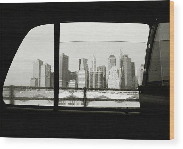 Car Interior Wood Print featuring the photograph Manhattan Through Car Window by Matt Carr