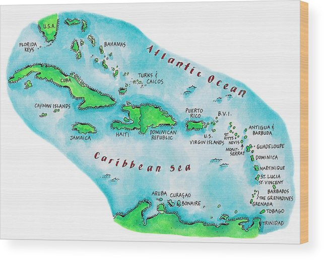 Watercolor Painting Wood Print featuring the digital art Map Of Caribbean Islands by Jennifer Thermes