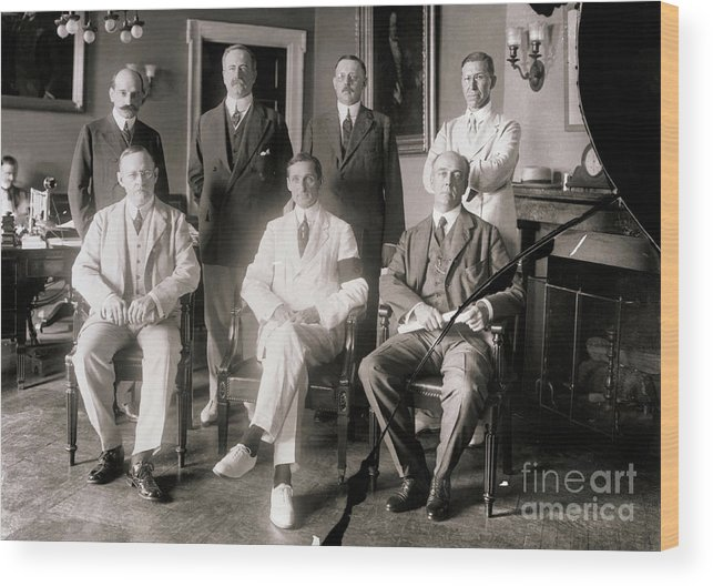Central Bank Wood Print featuring the photograph Members Of Federal Reserve Board by Bettmann