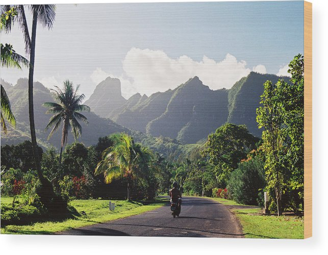 Shadow Wood Print featuring the photograph Motorcyclist On Polynesian Road by Ejs9