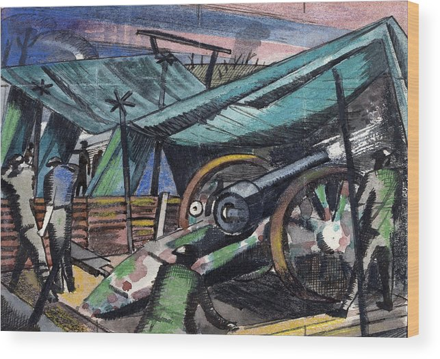 B1019 Wood Print featuring the painting A Howitzer Firing, 1918 by Paul Nash