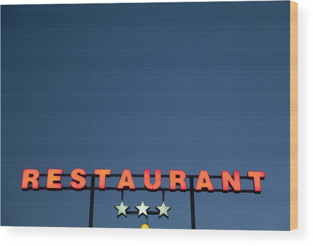 Temptation Wood Print featuring the photograph Neon 3 Star Restaurant Sign by Henglein And Steets