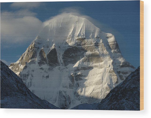 Chinese Culture Wood Print featuring the photograph North Face Of Mount Kailash Gang by Tcp