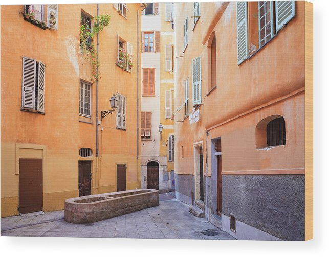 Orange Color Wood Print featuring the photograph Old Town Of Nice, French Riviera, France by Aprott