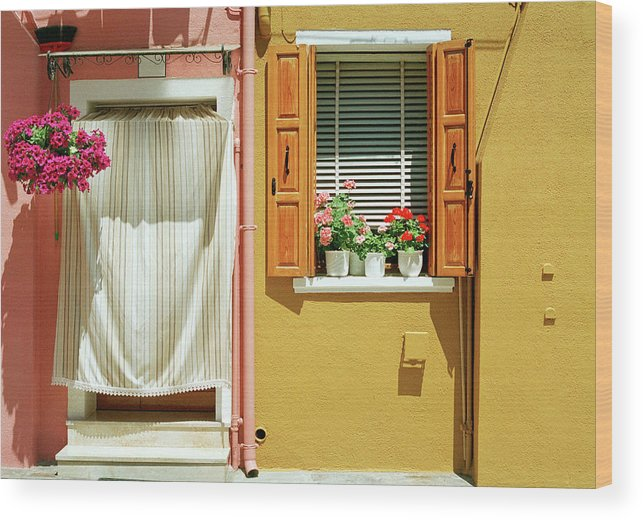 Hanging Wood Print featuring the photograph Painted House In Burano by Terraxplorer