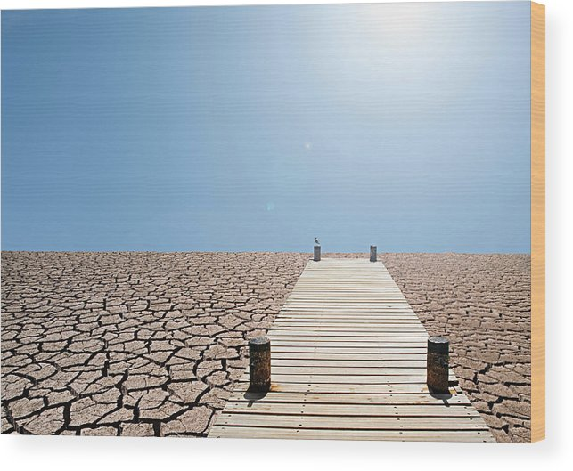 Environmental Damage Wood Print featuring the photograph Pier Over A Dry Lake Bed by John Lund