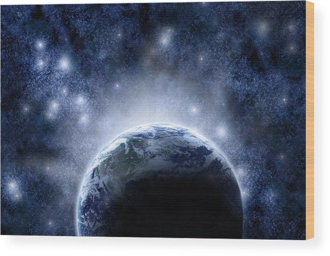 Outdoors Wood Print featuring the digital art Planet Earth And Stars by Nicholas Monu