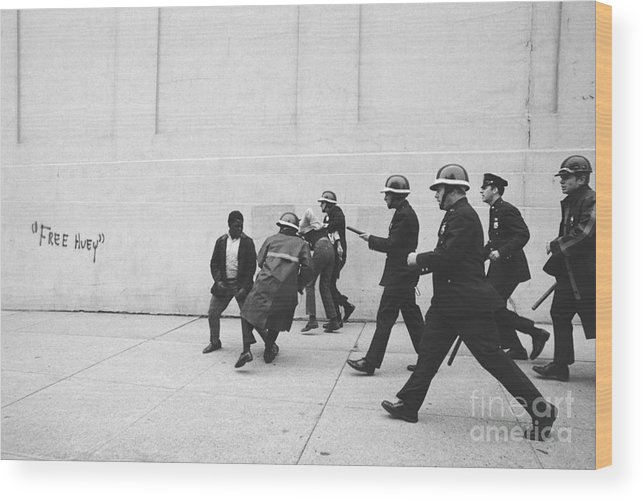 Marching Wood Print featuring the photograph Police And Students Clashing by Bettmann