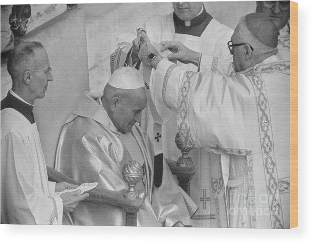 Mature Adult Wood Print featuring the photograph Pope John Paul II Receiving Pallium by Bettmann