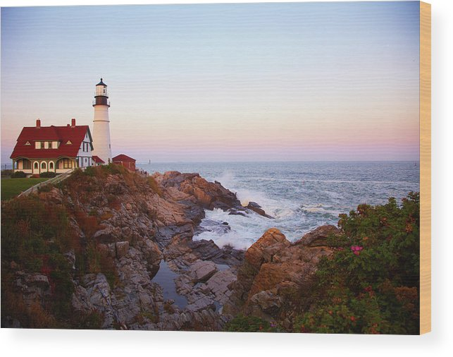 Scenics Wood Print featuring the photograph Portland Head Lighthouse At Sunset by Thomas Northcut
