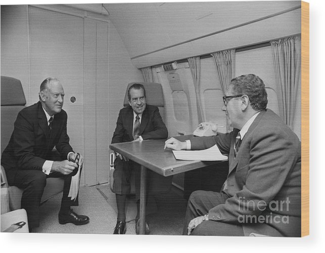 Advice Wood Print featuring the photograph Pres. Nixon Aboard Air Force One by Bettmann