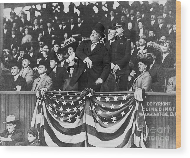 Mature Adult Wood Print featuring the photograph President Taft Throwing The First Pitch by Bettmann