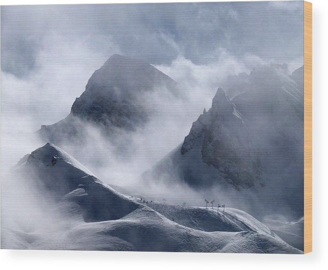Scenics Wood Print featuring the photograph Pyramide And Roc Merlet In Courchevel by Niall Corbet @ Www.flickr/photos/niallcorbet