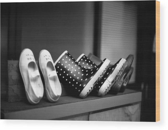 In A Row Wood Print featuring the photograph Rain Shoes by Snap Shooter Jp
