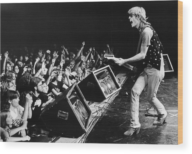Rock Music Wood Print featuring the photograph Rock Singer Tom Petty In Concert by George Rose